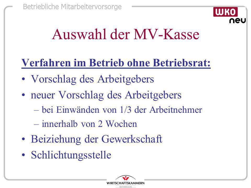 Auswahl der MV-Kasse Verfahren im Betrieb ohne Betriebsrat: