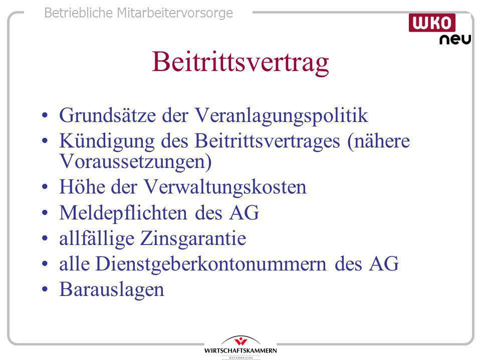 Beitrittsvertrag Grundsätze der Veranlagungspolitik