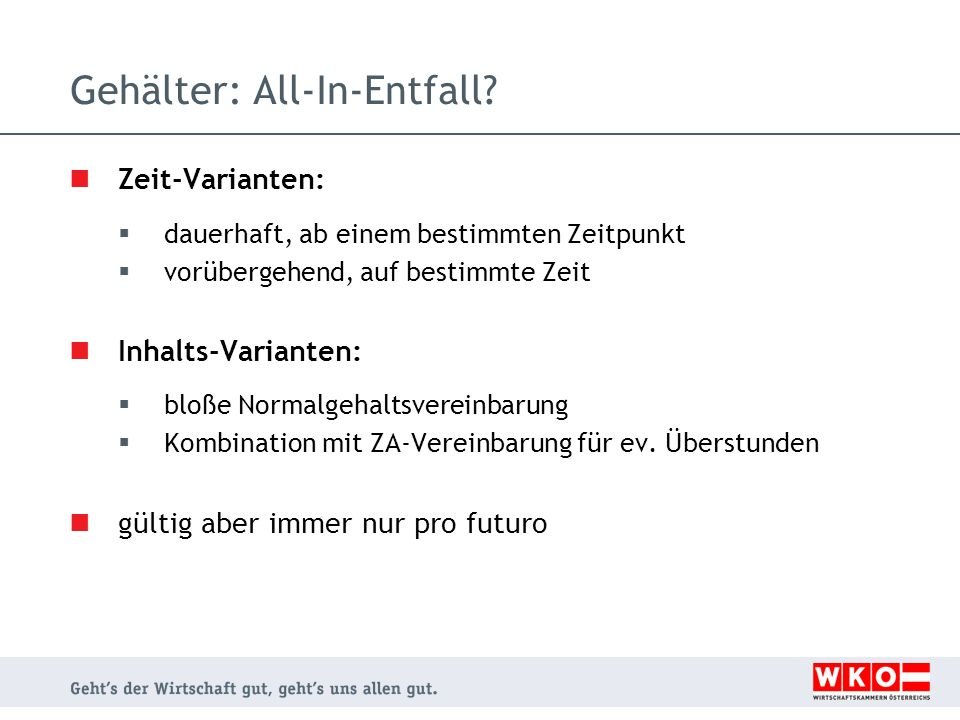 Gehälter: All-In-Entfall
