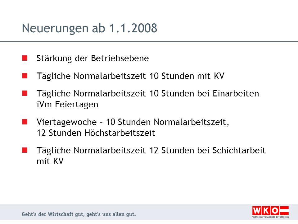 Neuerungen ab 1.1.2008 Stärkung der Betriebsebene