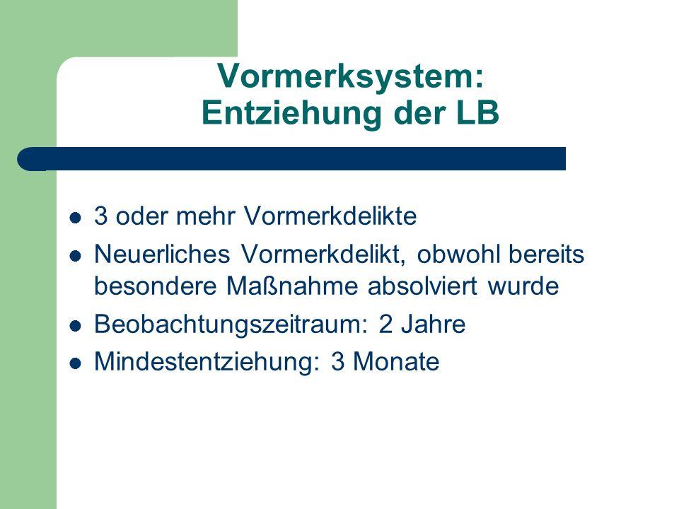 Vormerksystem: Entziehung der LB
