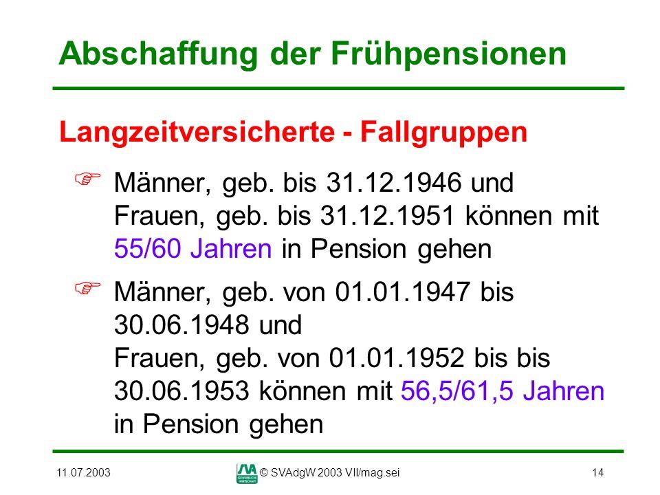 Abschaffung der Frühpensionen