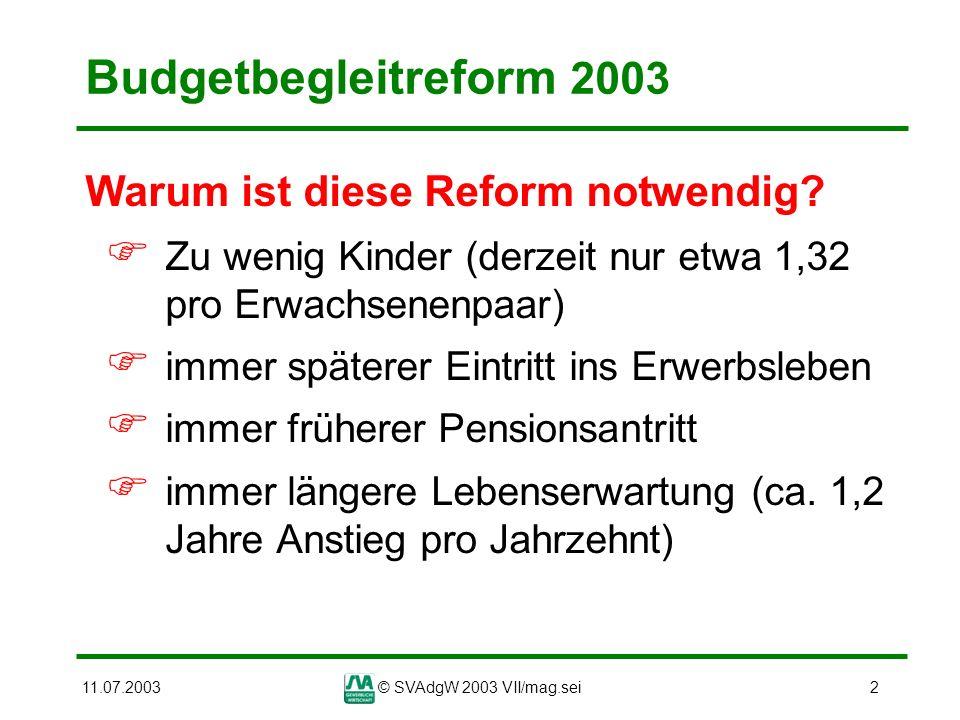 Budgetbegleitreform 2003 Warum ist diese Reform notwendig