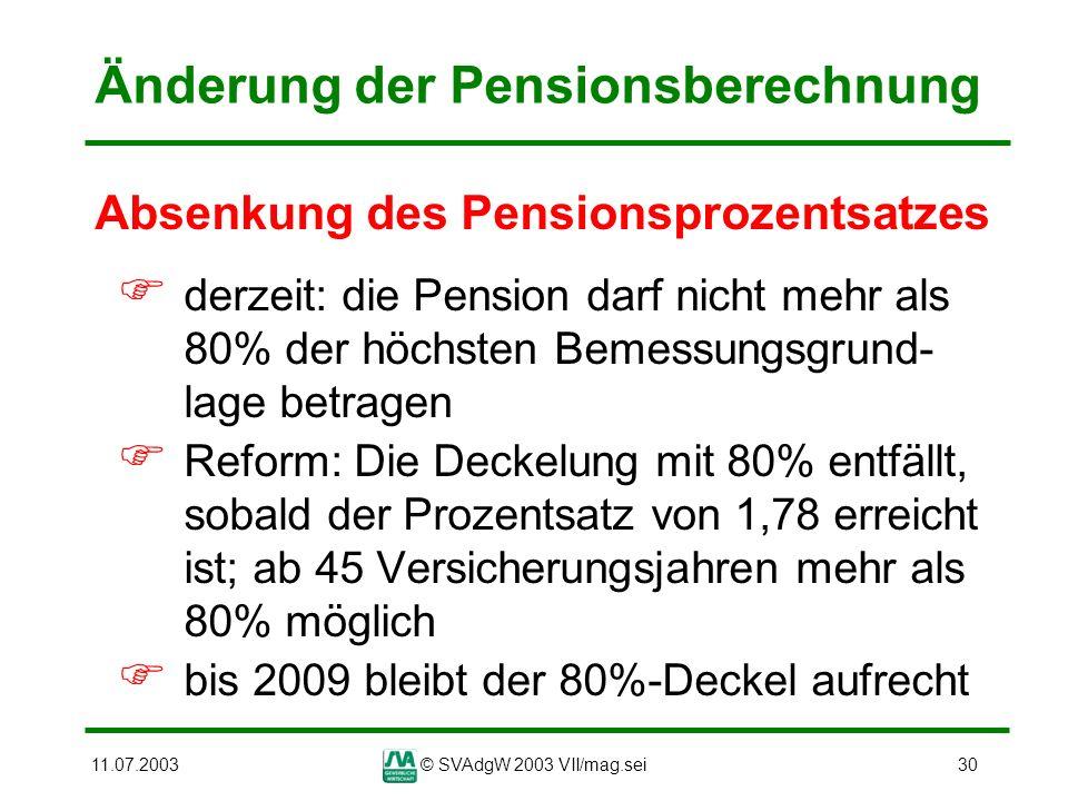 Änderung der Pensionsberechnung
