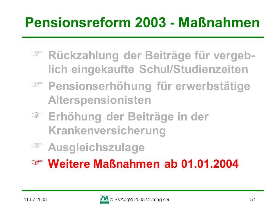 Pensionsreform 2003 - Maßnahmen