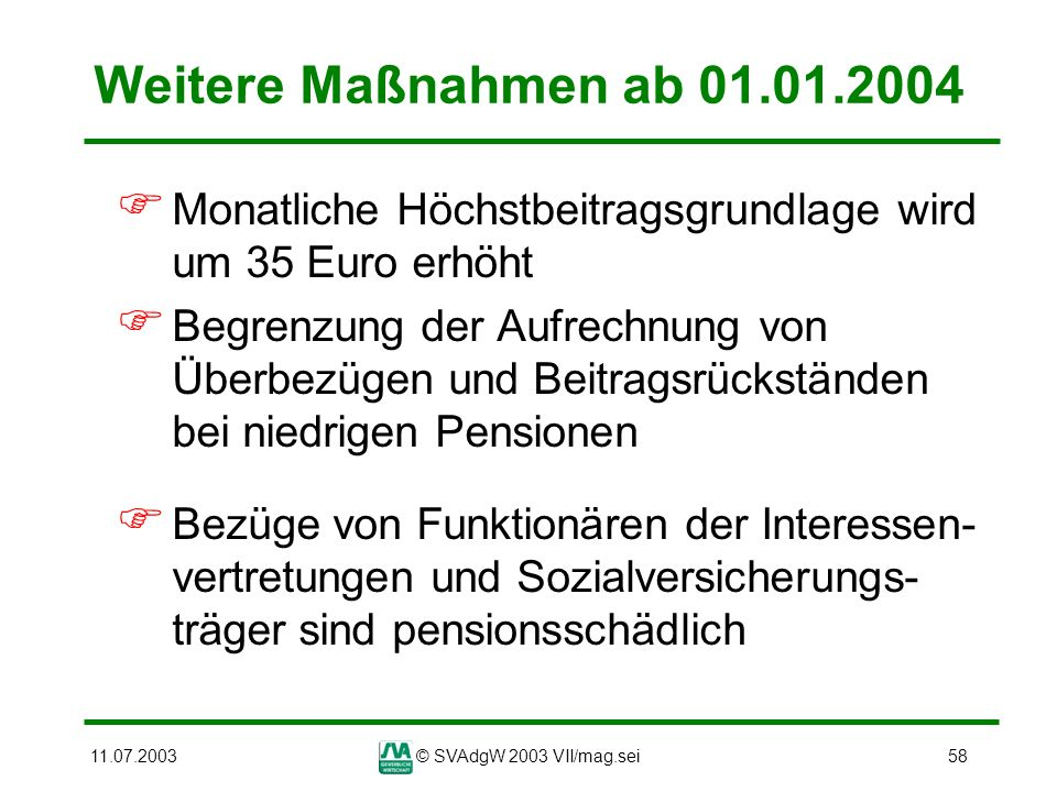 Weitere Maßnahmen ab 01.01.2004 Monatliche Höchstbeitragsgrundlage wird um 35 Euro erhöht.