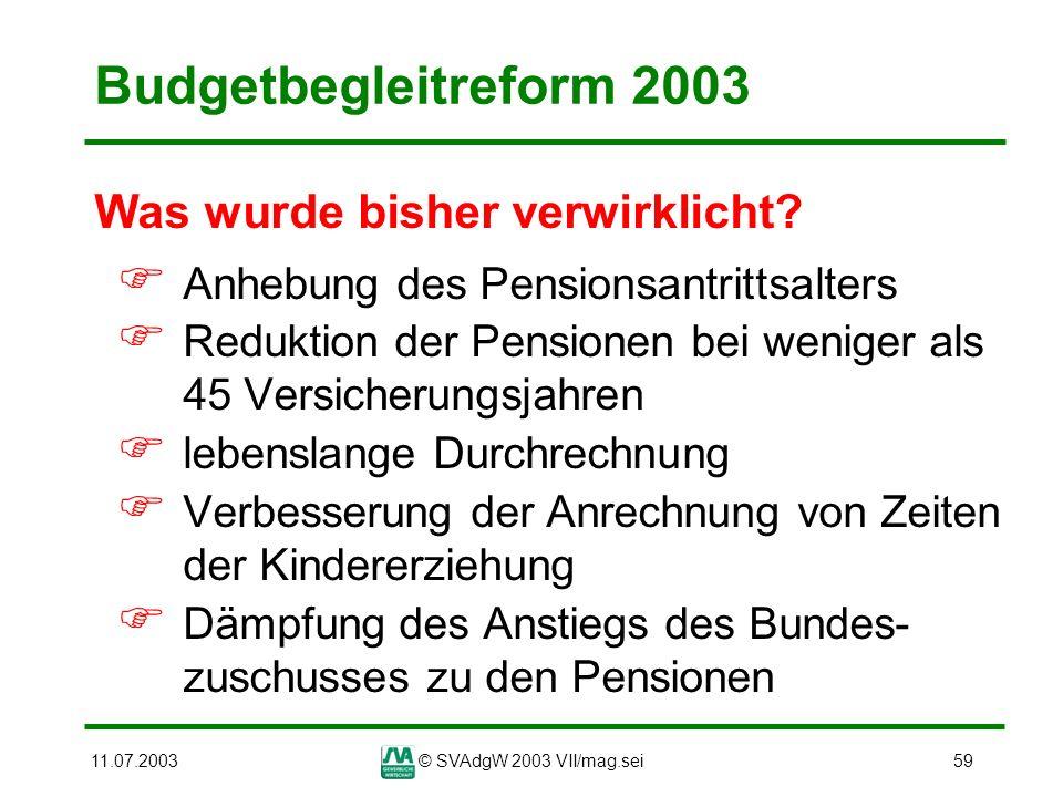 Budgetbegleitreform 2003 Was wurde bisher verwirklicht