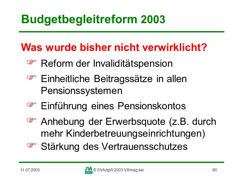 Budgetbegleitreform 2003 Was wurde bisher nicht verwirklicht
