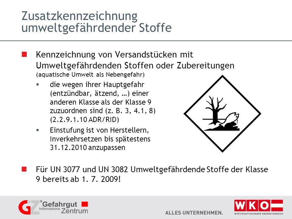 Zusatzkennzeichnung umweltgefährdender Stoffe