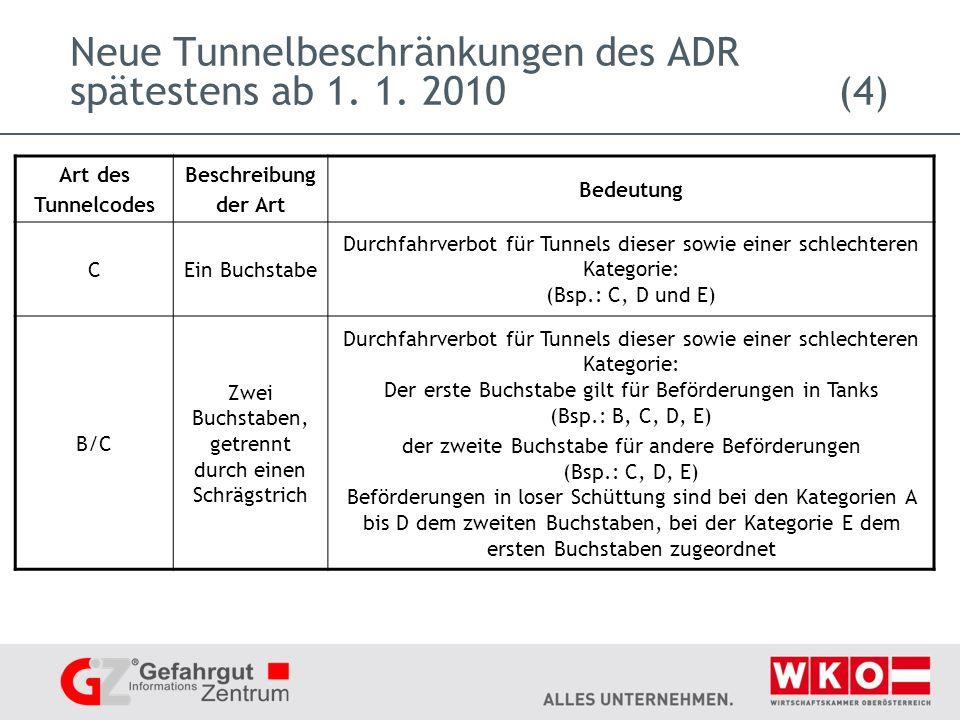 Neue Tunnelbeschränkungen des ADR spätestens ab 1. 1. 2010 (4)