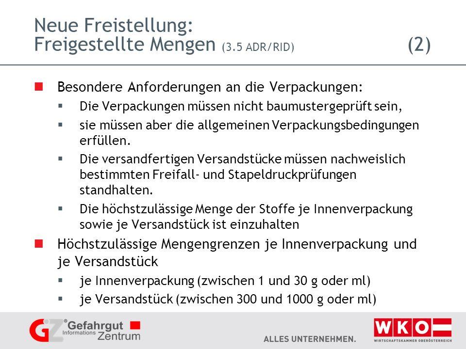 Neue Freistellung: Freigestellte Mengen (3.5 ADR/RID) (2)