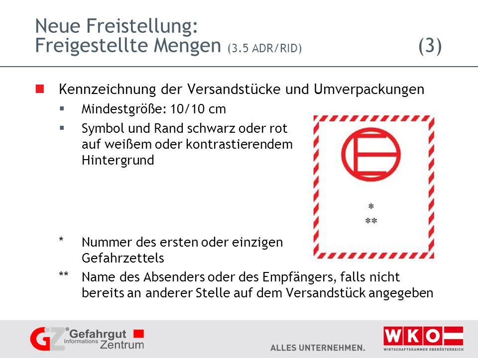 Neue Freistellung: Freigestellte Mengen (3.5 ADR/RID) (3)