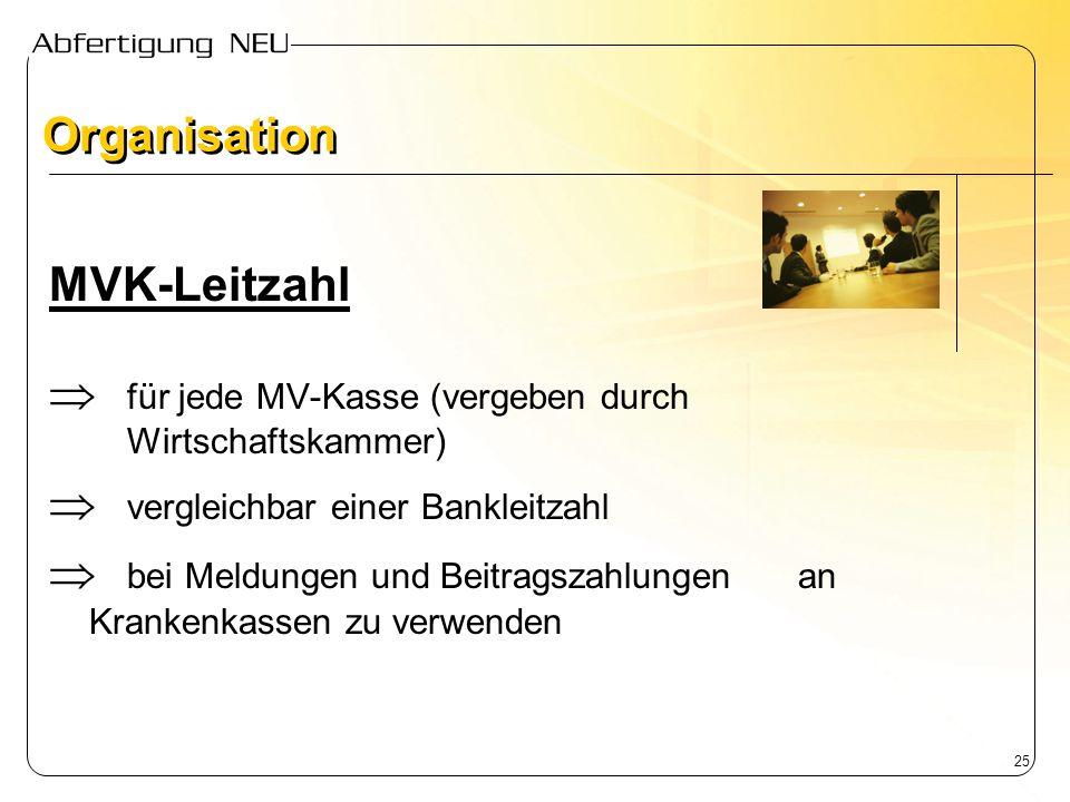 Organisation MVK-Leitzahl.  für jede MV-Kasse (vergeben durch Wirtschaftskammer)  vergleichbar einer Bankleitzahl.