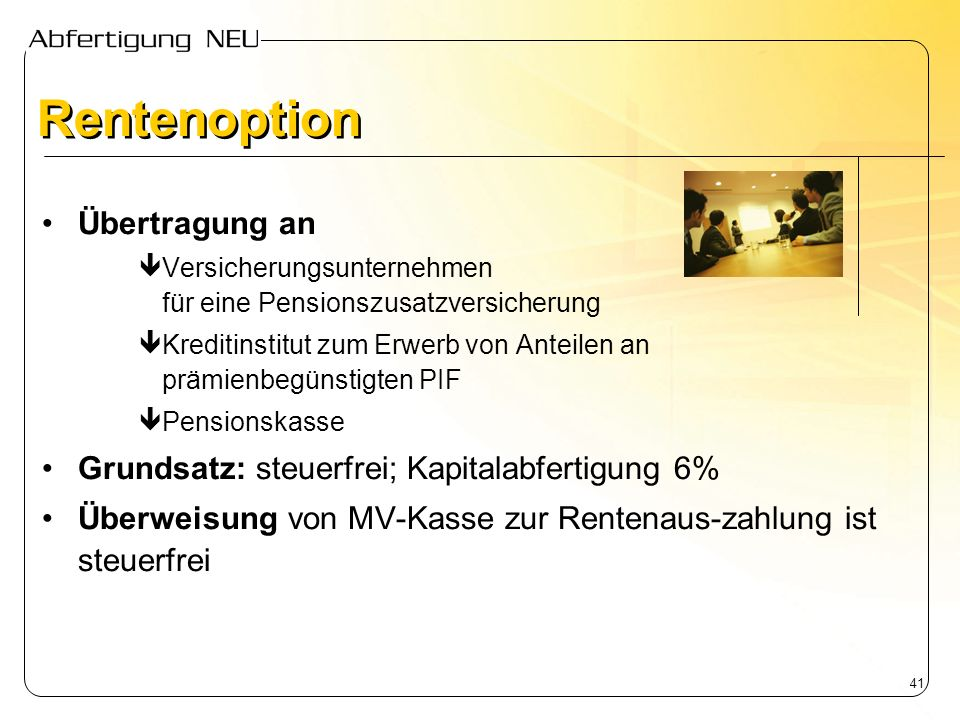 Rentenoption Übertragung an