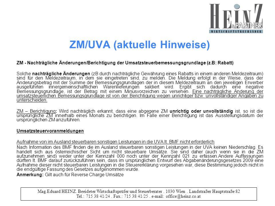 ZM/UVA (aktuelle Hinweise)