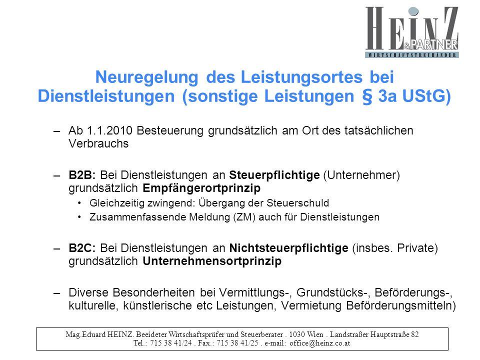 Neuregelung des Leistungsortes bei Dienstleistungen (sonstige Leistungen § 3a UStG)