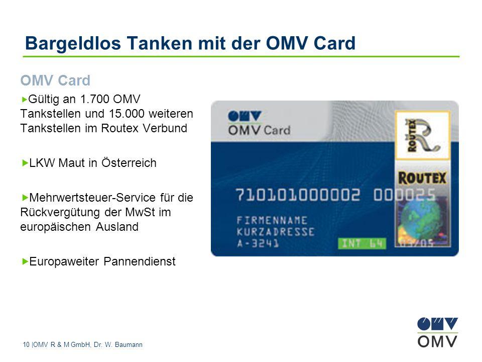 Bargeldlos Tanken mit der OMV Card