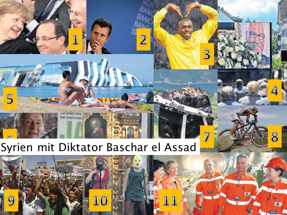 1 2 3 4 5 7 8 6 Syrien mit Diktator Baschar el Assad 9 10 11