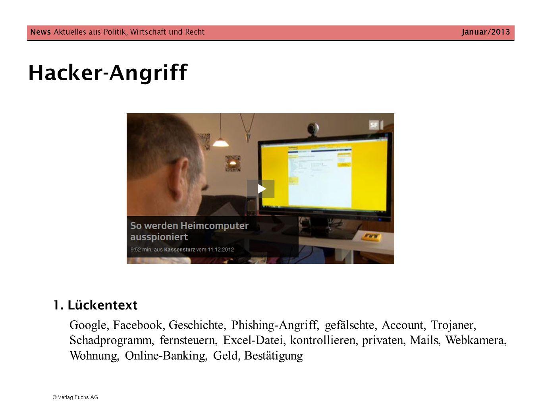 Hacker-Angriff 1. Lückentext