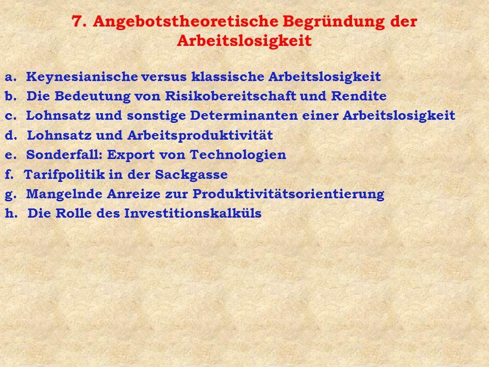 7. Angebotstheoretische Begründung der Arbeitslosigkeit