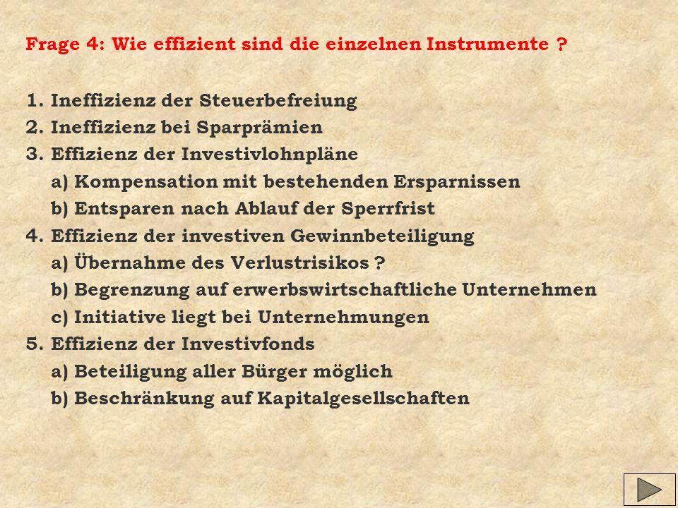 Frage 4: Wie effizient sind die einzelnen Instrumente