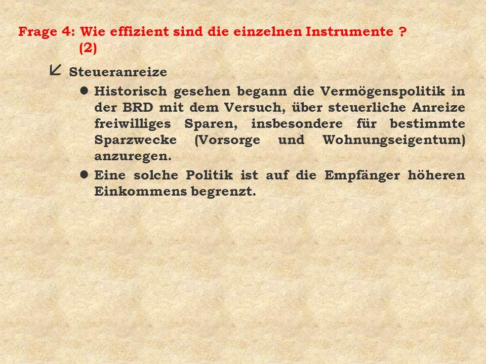 Frage 4: Wie effizient sind die einzelnen Instrumente (2)