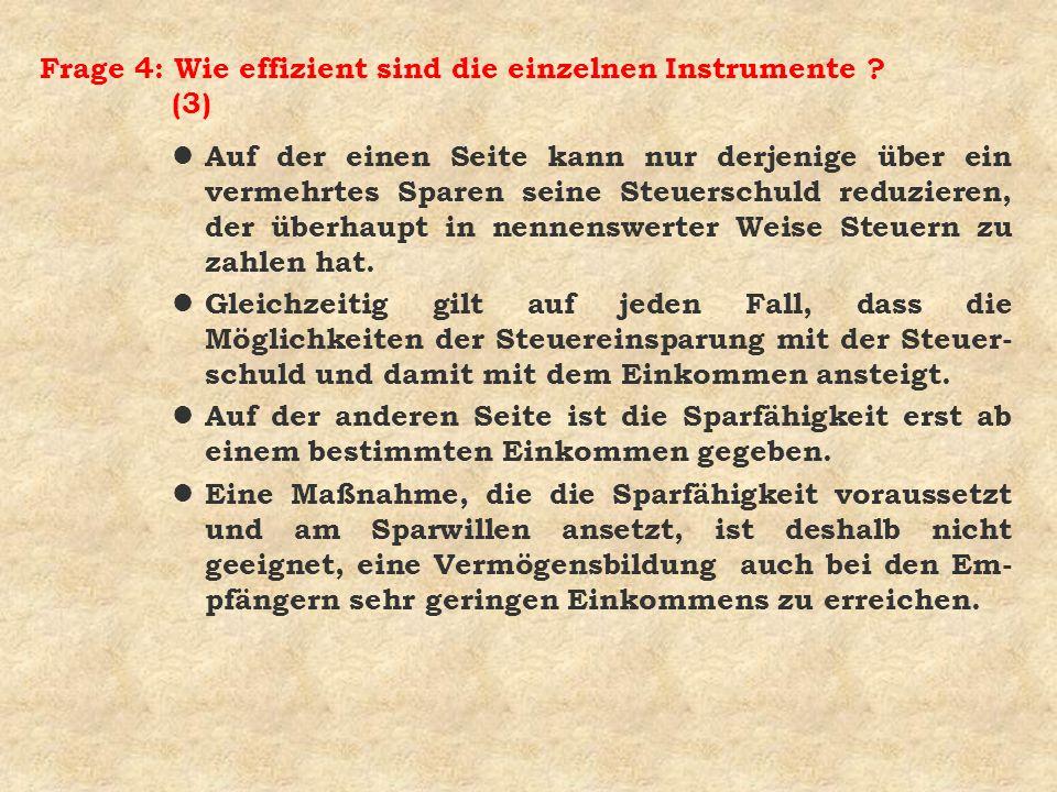 Frage 4: Wie effizient sind die einzelnen Instrumente (3)