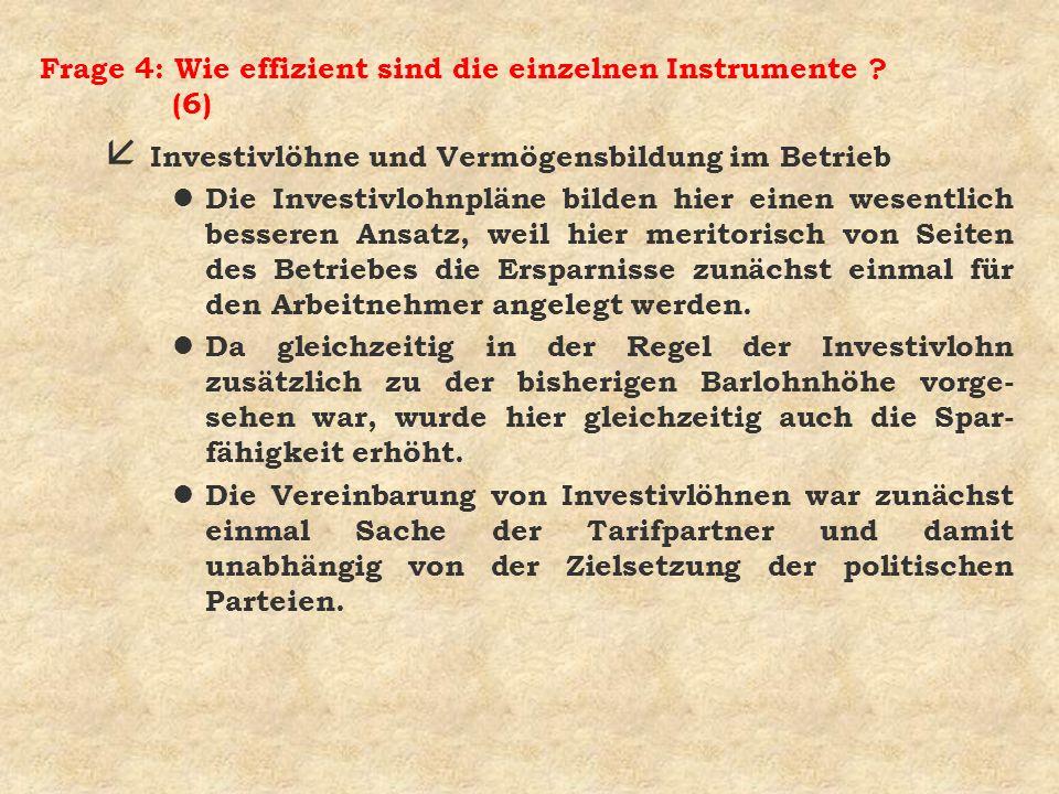 Frage 4: Wie effizient sind die einzelnen Instrumente (6)