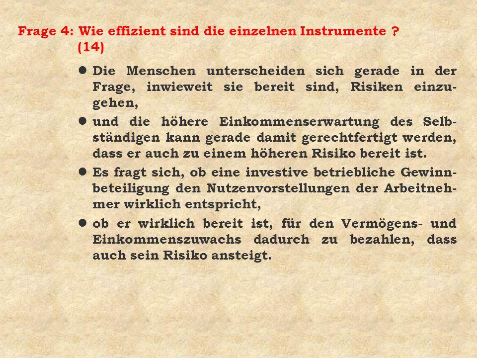 Frage 4: Wie effizient sind die einzelnen Instrumente (14)