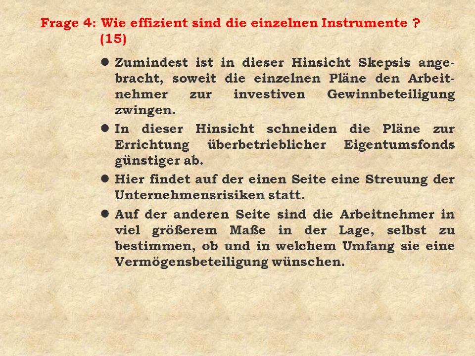 Frage 4: Wie effizient sind die einzelnen Instrumente (15)