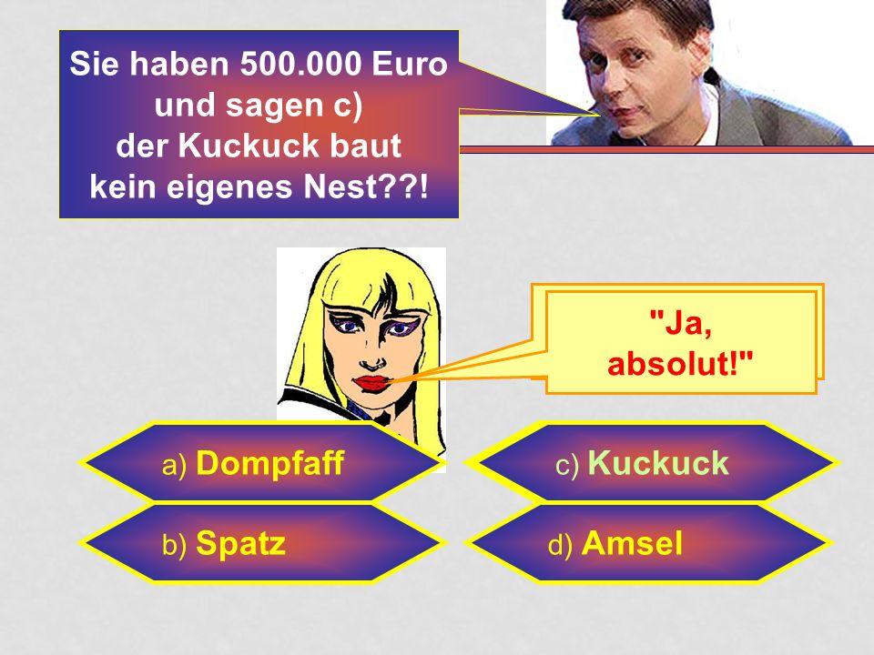 Sie haben 500.000 Euro und sagen c) der Kuckuck baut kein eigenes Nest !