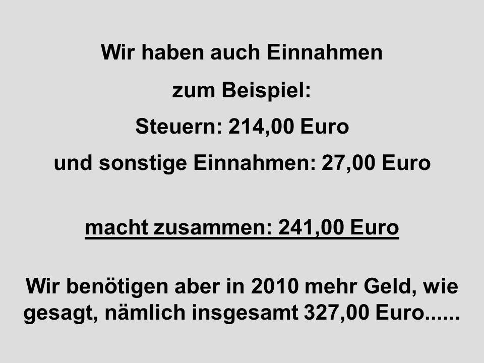 Wir haben auch Einnahmen und sonstige Einnahmen: 27,00 Euro