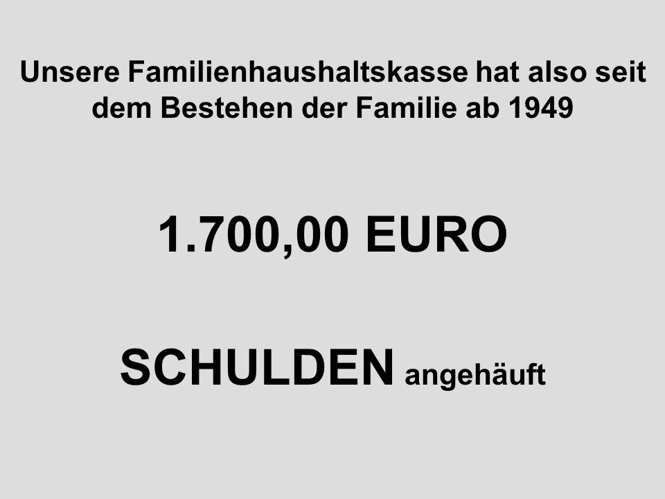 1.700,00 EURO SCHULDEN angehäuft