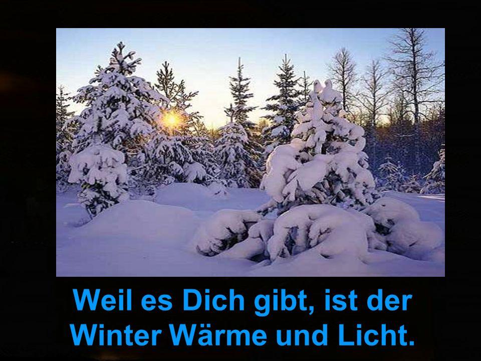 Weil es Dich gibt, ist der Winter Wärme und Licht.