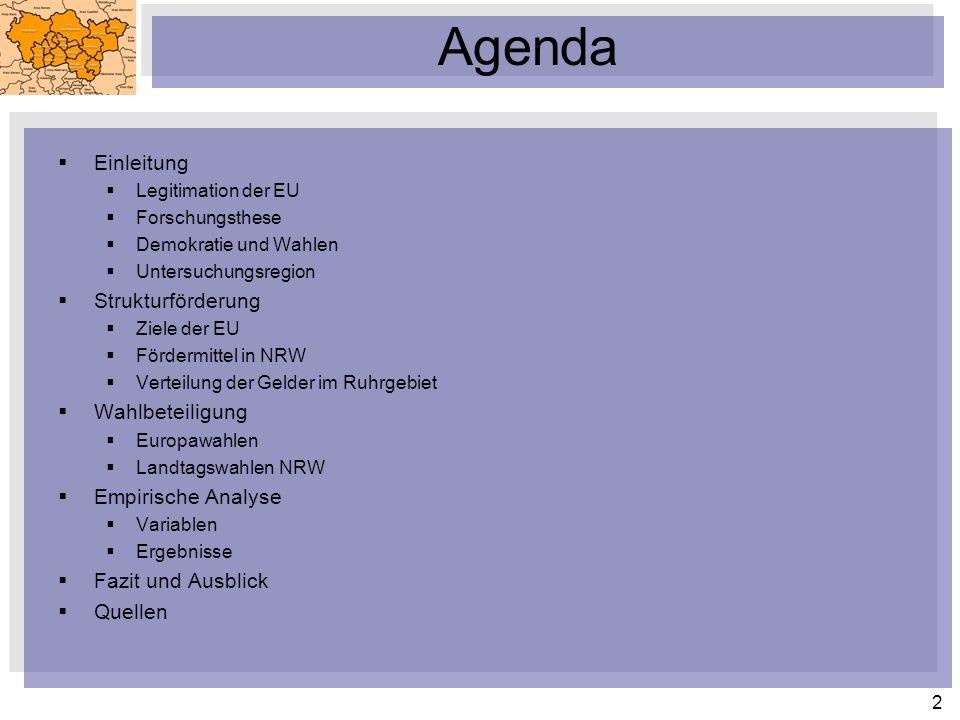 Agenda Einleitung Strukturförderung Wahlbeteiligung Empirische Analyse