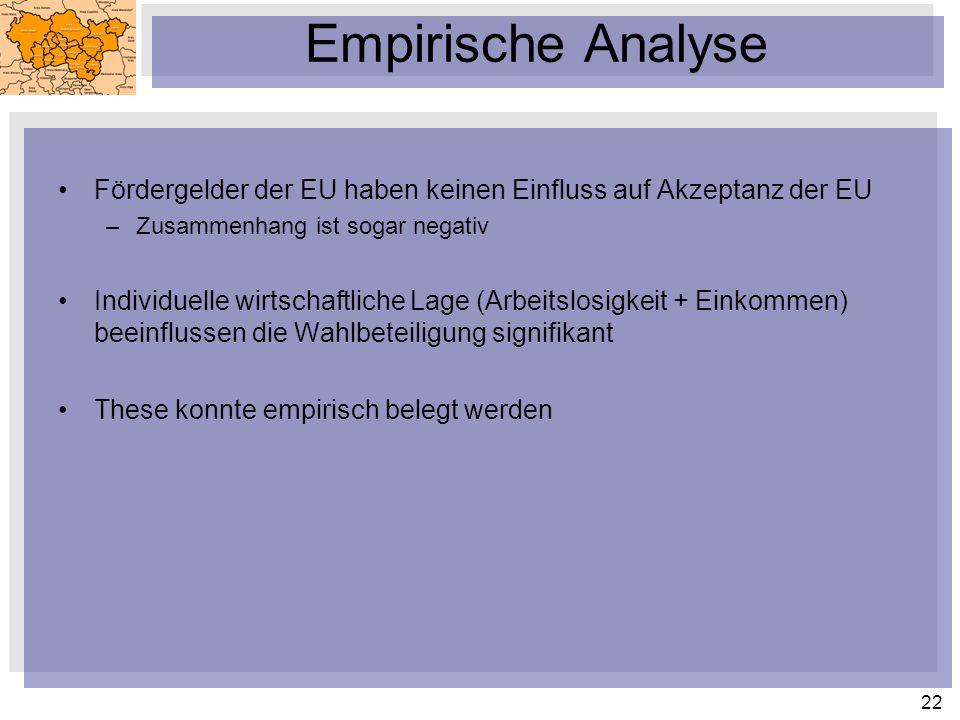 Empirische Analyse Fördergelder der EU haben keinen Einfluss auf Akzeptanz der EU. Zusammenhang ist sogar negativ.