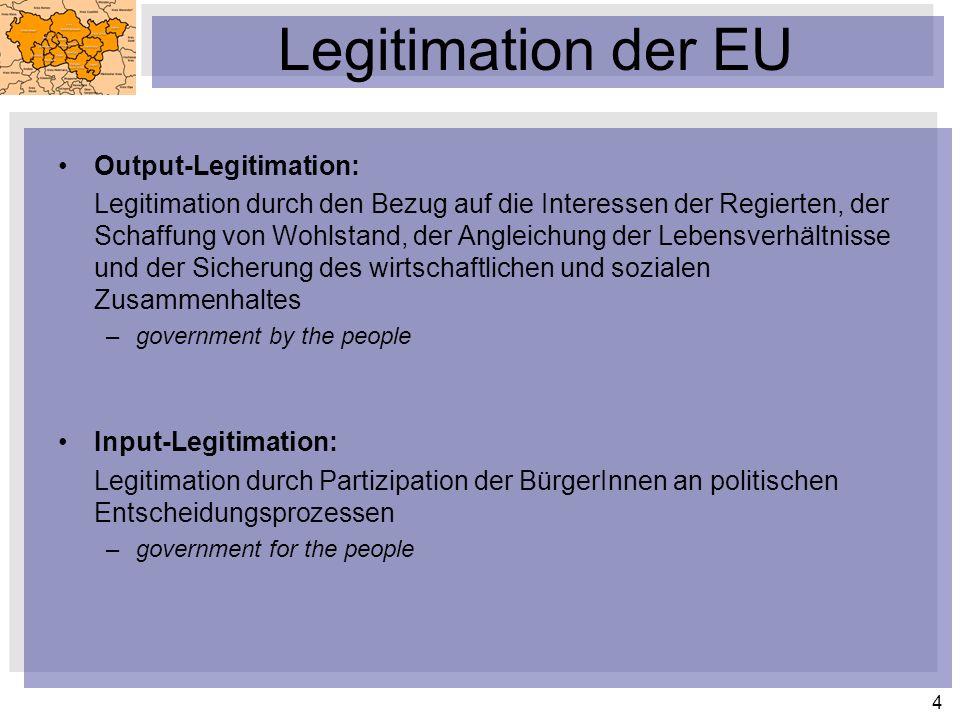 Legitimation der EU Output-Legitimation: