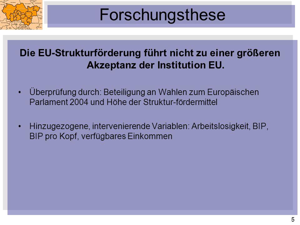 Forschungsthese Die EU-Strukturförderung führt nicht zu einer größeren Akzeptanz der Institution EU.