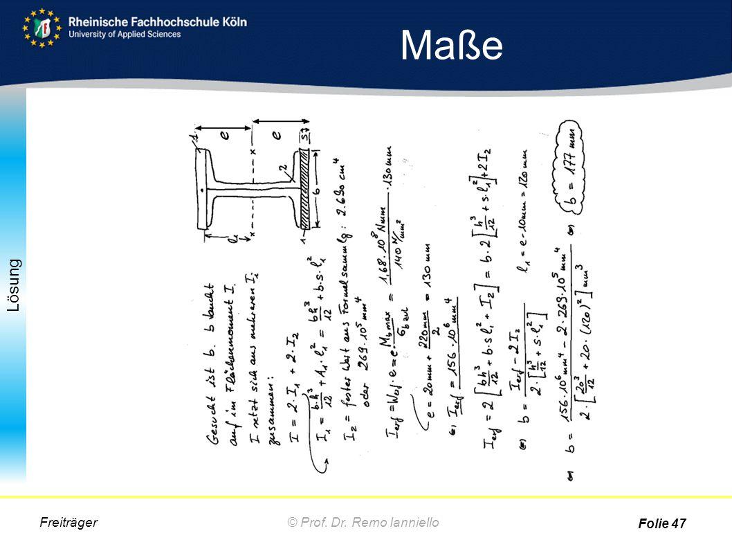 Maße Freiträger © Prof. Dr. Remo Ianniello