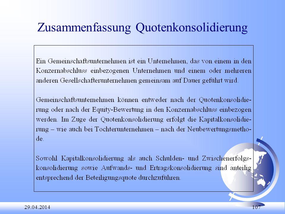 Zusammenfassung Quotenkonsolidierung