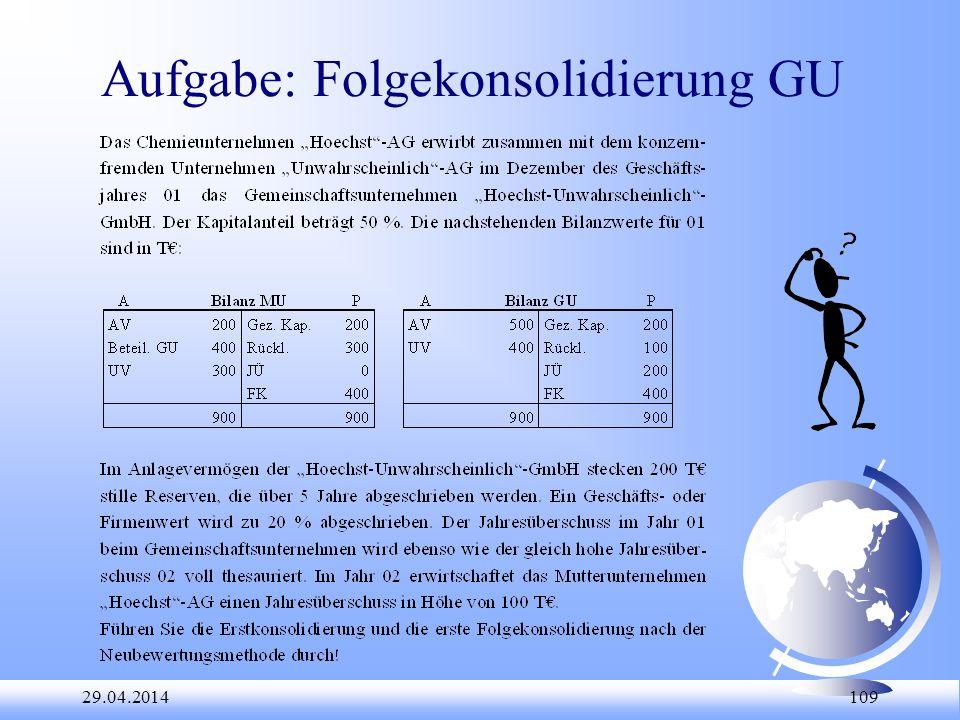Aufgabe: Folgekonsolidierung GU