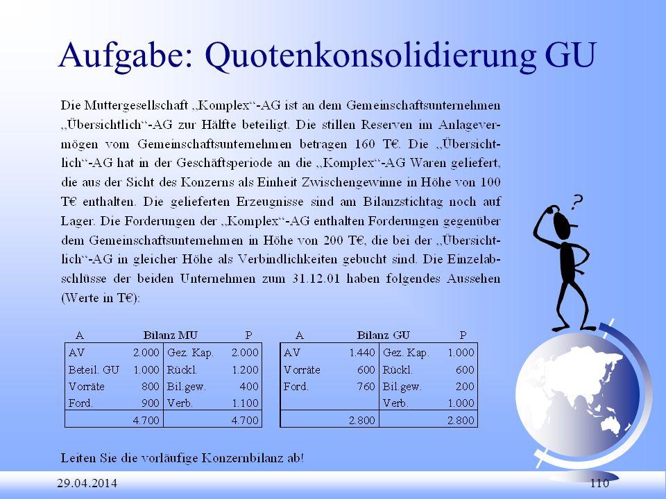 Aufgabe: Quotenkonsolidierung GU