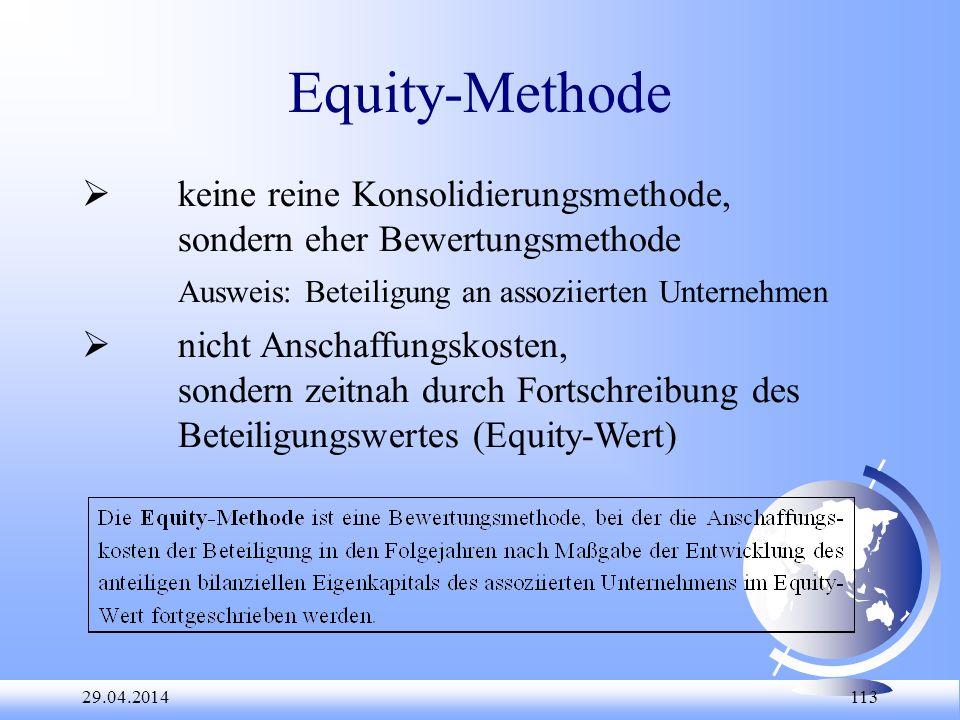 Equity-Methode  keine reine Konsolidierungsmethode,