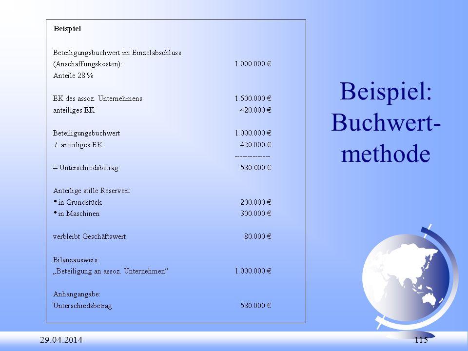 Beispiel: Buchwert-methode