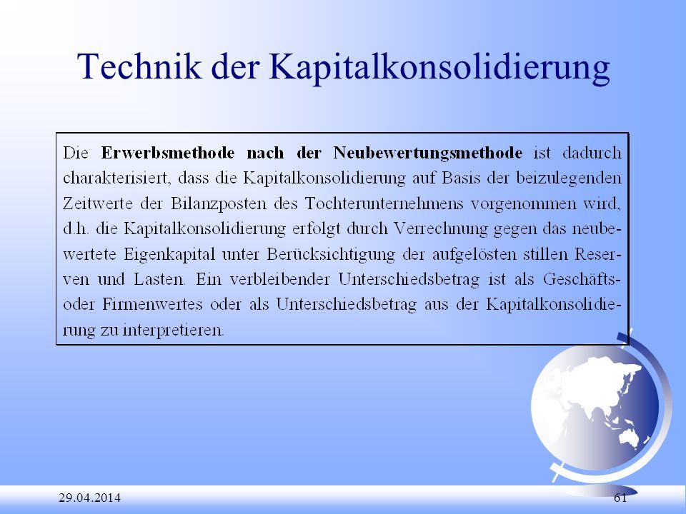 Technik der Kapitalkonsolidierung