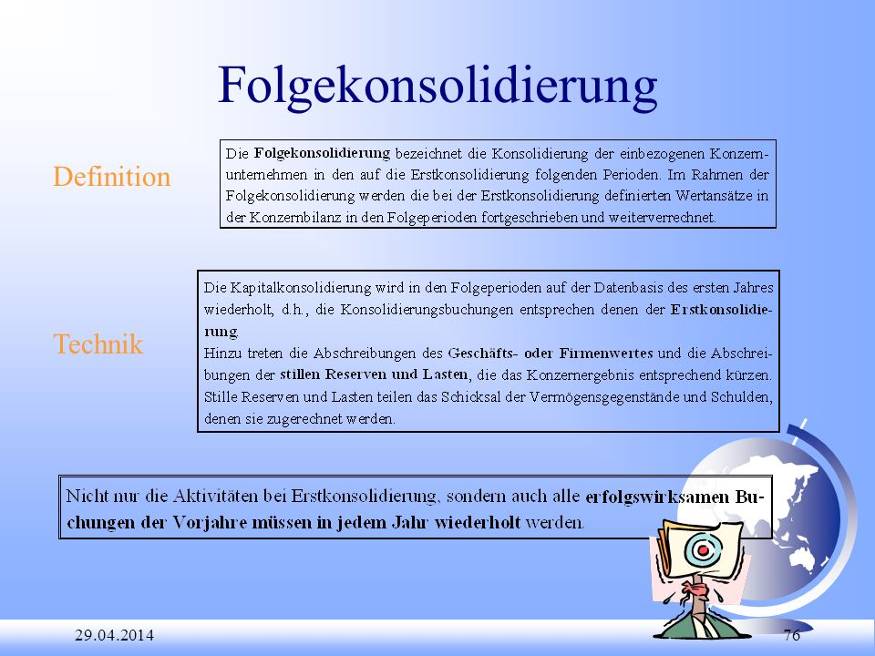 Folgekonsolidierung Definition Technik 28.03.2017