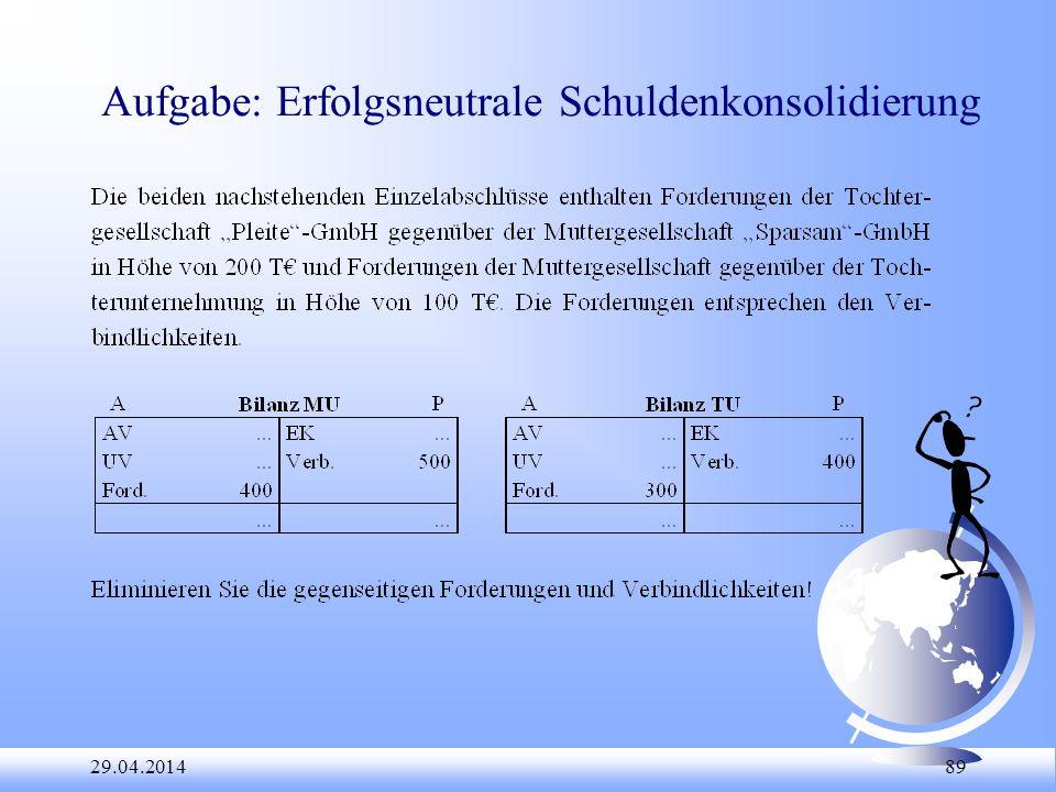 Aufgabe: Erfolgsneutrale Schuldenkonsolidierung
