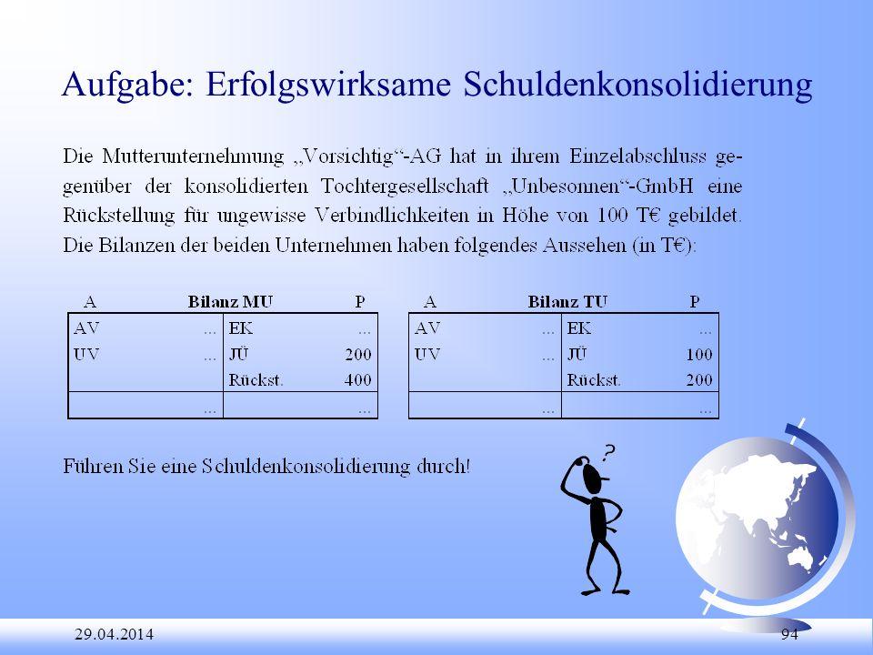 Aufgabe: Erfolgswirksame Schuldenkonsolidierung