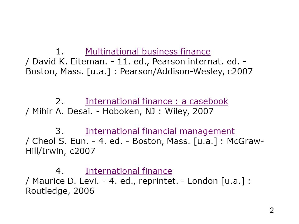 1. Multinational business finance