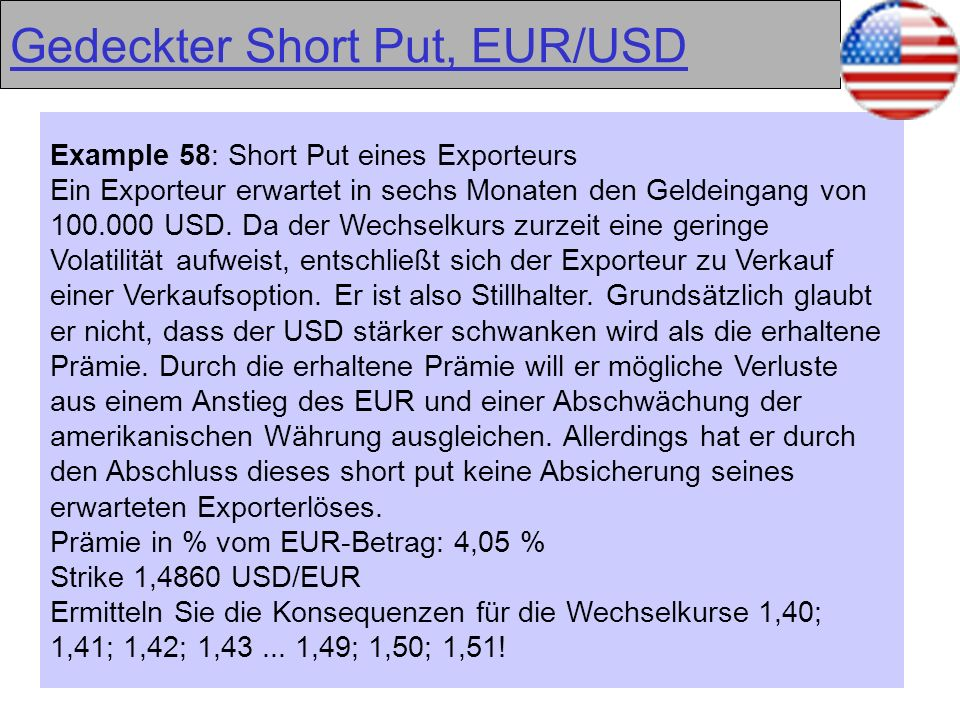 Gedeckter Short Put, EUR/USD